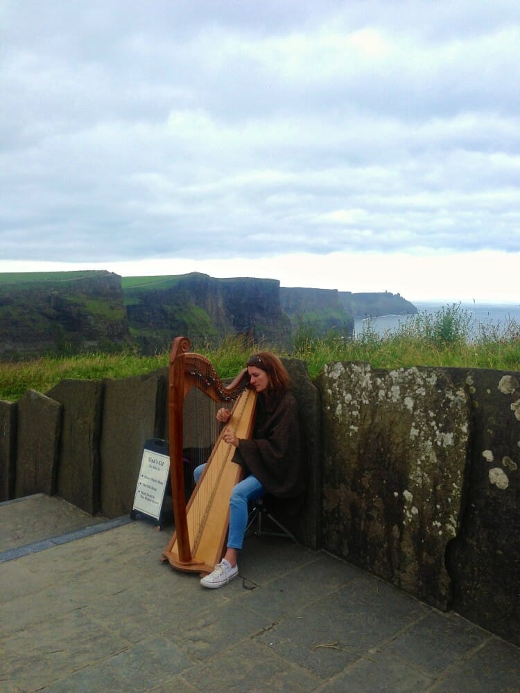 Well-known Harp Player at the Cliffs of Moher