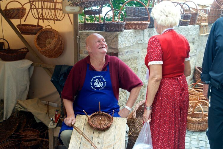 hungarian people culture budapest market workers basket weavers laughing