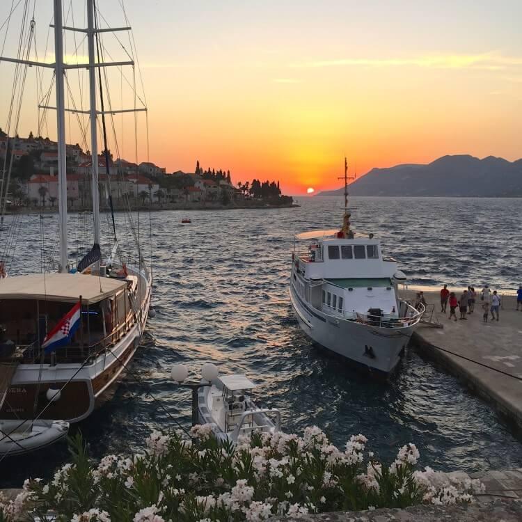 tour guide's guide to korcula island croatia sunset in Korčula