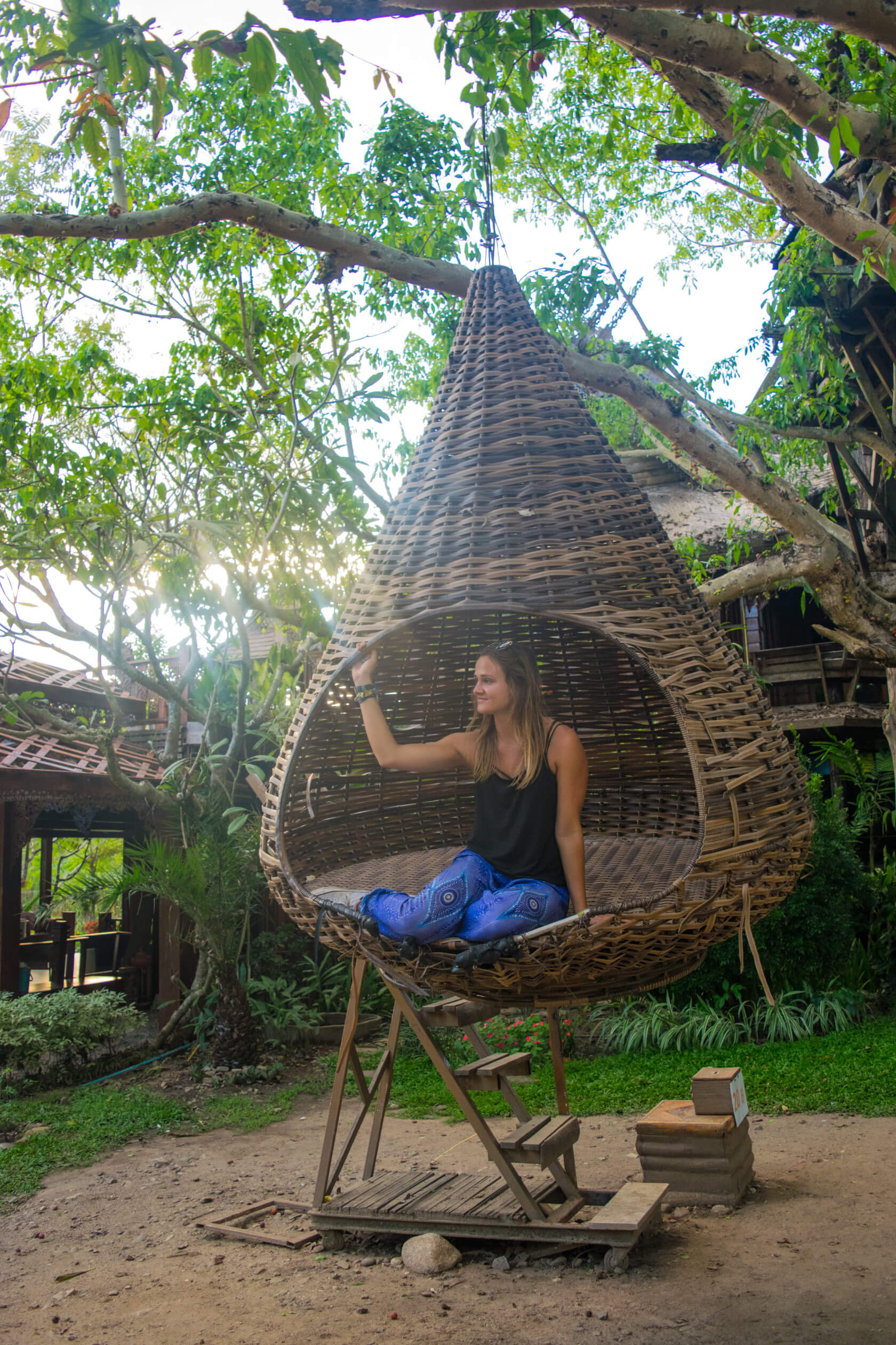 pai thailand floating treehouse swing