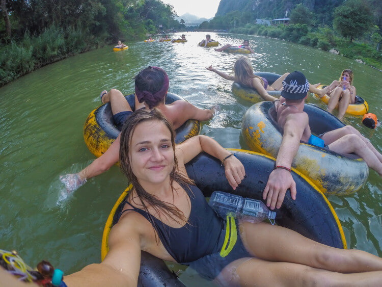 tubing in vang vieng Laos southeast asia party