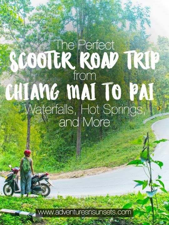 Willing to brave the 762 turns of a treacherous scooter roaf trip from Chiang Mai to Pai, Thaliand? For the adventurers out there, here are some perfect road trip stops including national parks, waterfalls, hot springs, coffee shops, canyons, and more!