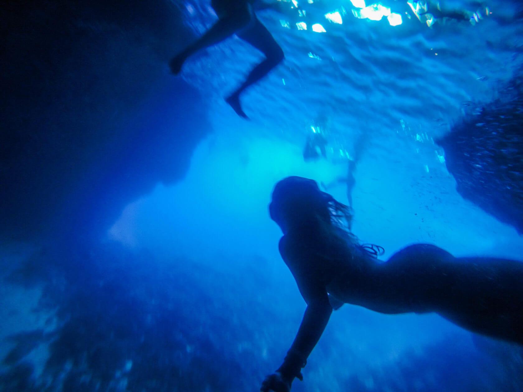 underwater Kolocep blue cave dubrovnik