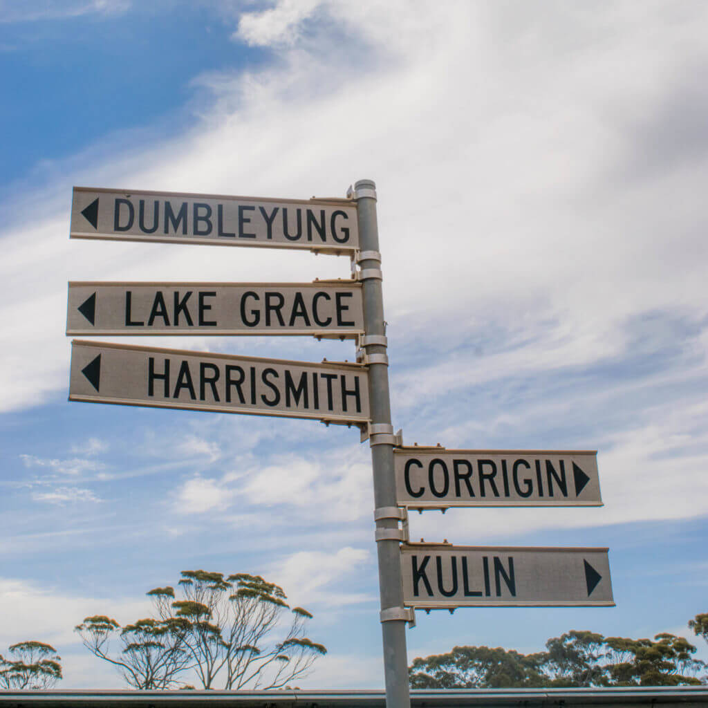street signs wickepin shire harrismith lake grace dumbleyung corrigin kulin