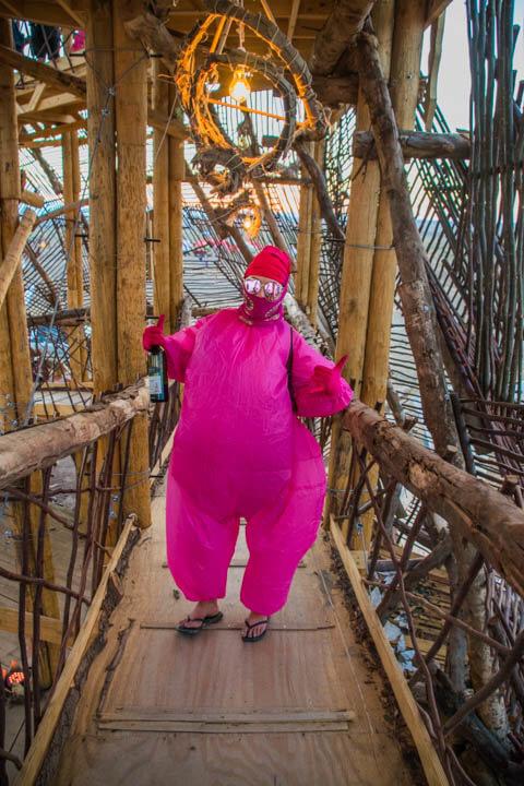 Afrikaburn 2017 sunset ygddrasil pink sumo suit