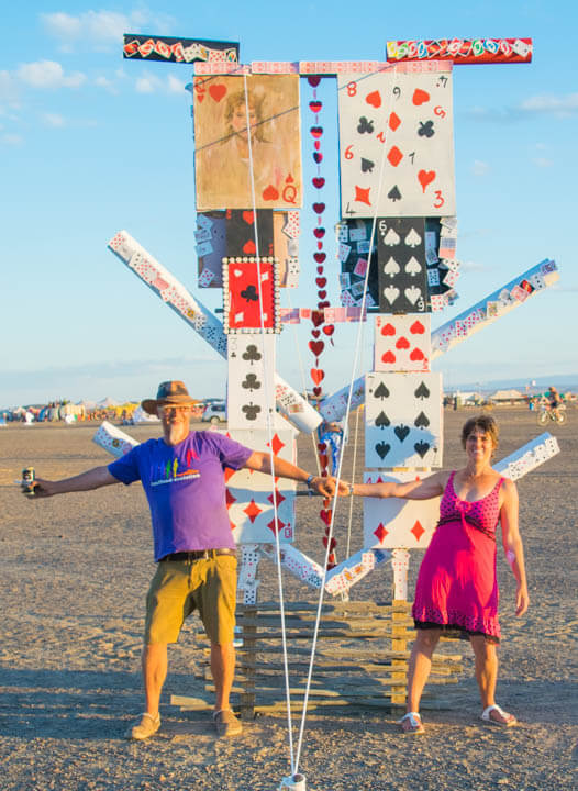 Afrikaburn 2017 sunset card art installation
