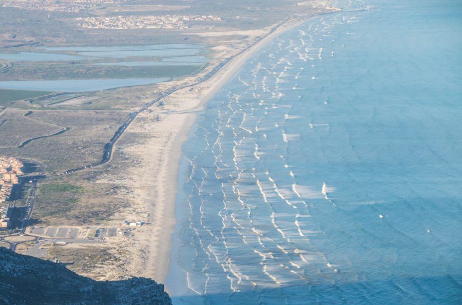Muizenberg beach from cape town helicopters