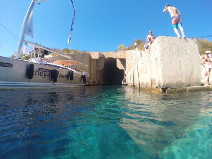 vis croatia submarine tunnel cliff jump
