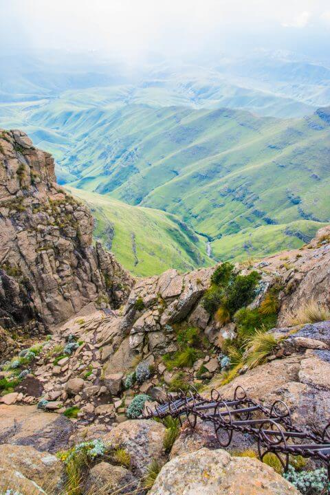 A Tugela Falls Hike in the Drakensburg Mountains, South Africa/Lesotho Border Ladders down cliff face