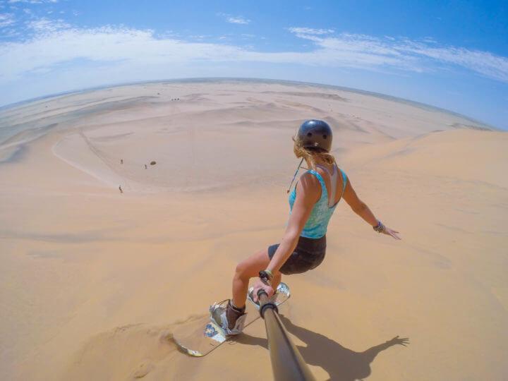 Namibia Road Trip swakopmund sandboarding alter action