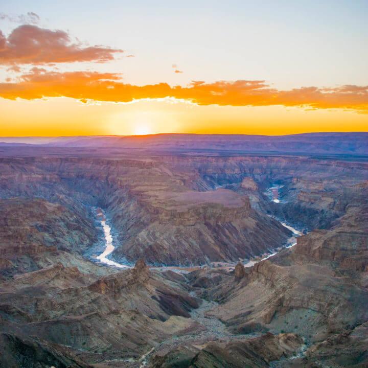 Namibia road trip fish river canyon sunset