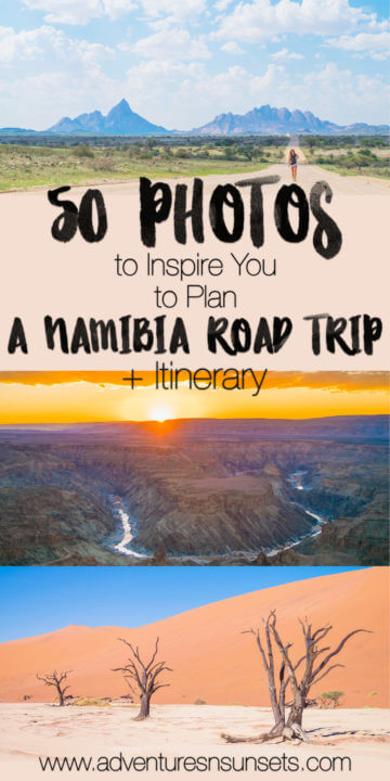 50 photos and facts to inspire you to plan a namibia road trip NOW! Includes a 10 day itinerary which you can self-drive or sign up for an overland caming/accomodated tour.