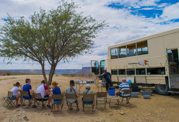 namibia road trip acacia africa overland tour lunch time