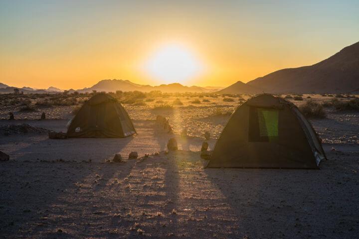 africa camping sunset sossus desert namibia