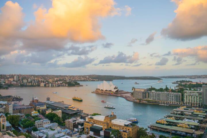 best sydney sunset spots sunset from Shangri-La Hotel The Rocks Sydney