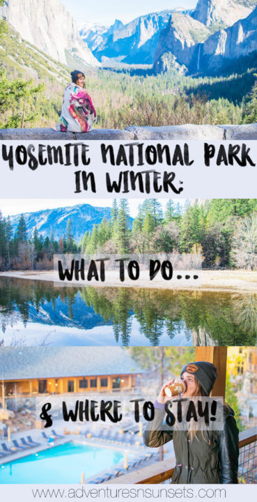 Yosmite National Park in Winter: What to Do & Where to Saty. Includes Lodge & accomodation options near the park, Yosemite activities in winter, and all points of interest in Yosemite Valley which are open in winter!