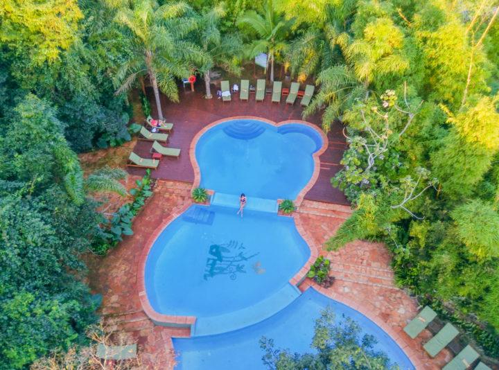 drone shot of pool iguazu falls puerto iguazu la aldea de la selve lodge