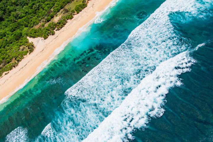 bali veaches from the sky waves breaking bali helicopter