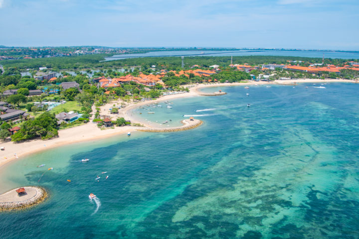 benoa bay watersports beaches bali helicopter views