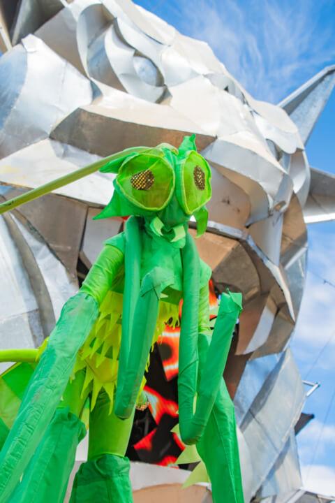 babylon festival dress up performer grasshopper outfit