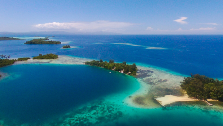 Gizo solomon islands drone photo Orovae cottages from the sky