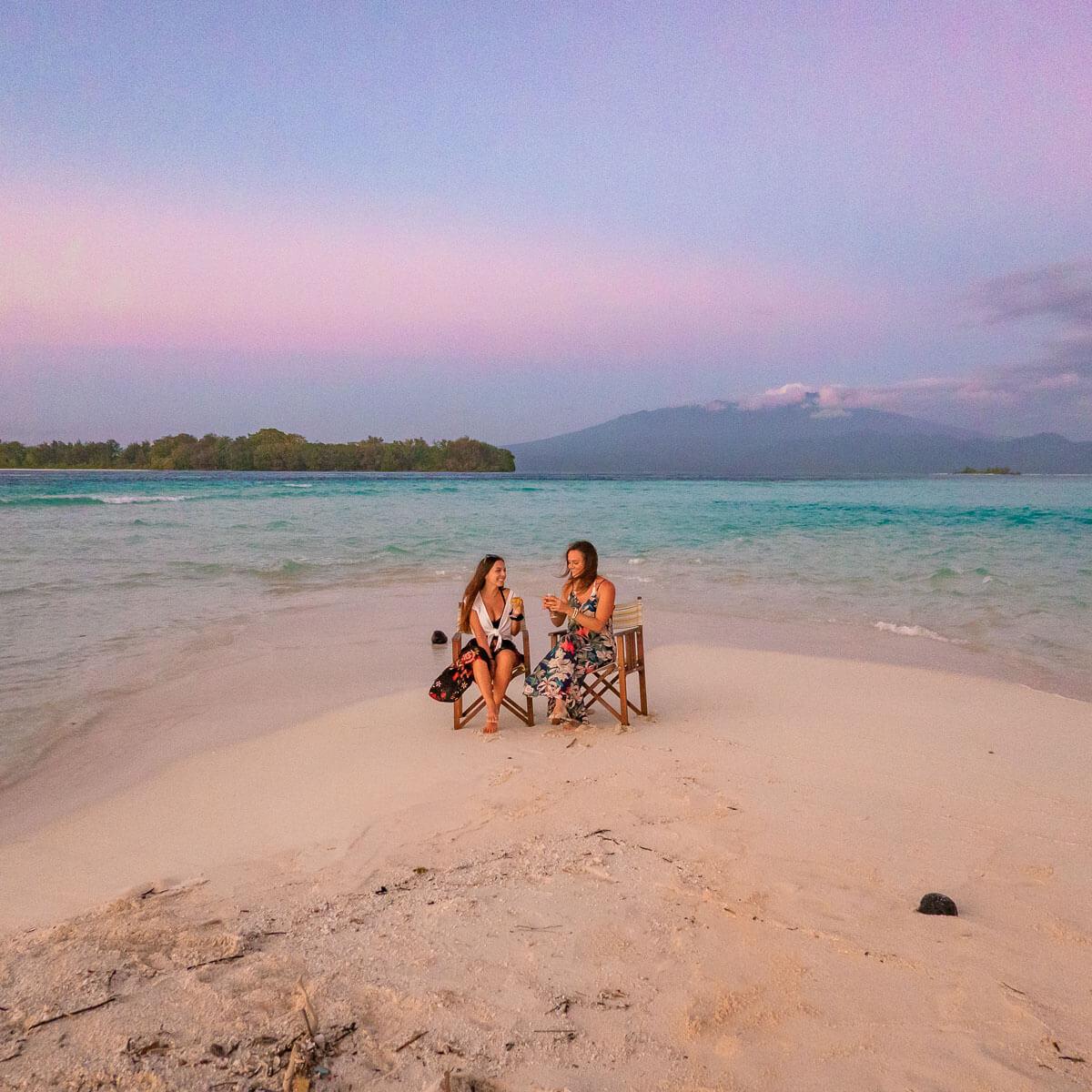 sunset wine down gizo solomon islands beach sunset