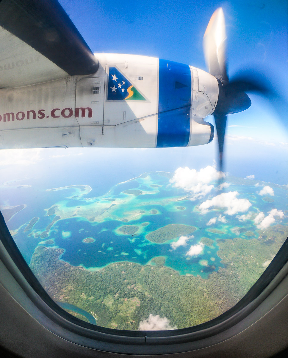 solomon islands view from the plane solomon airlines plane