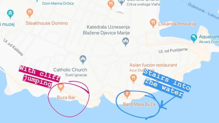 buza bar cliff bars map dubrovnik